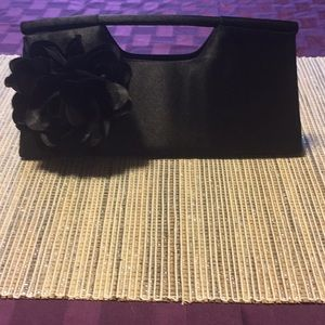 Handbags - Black Clutch with Flower